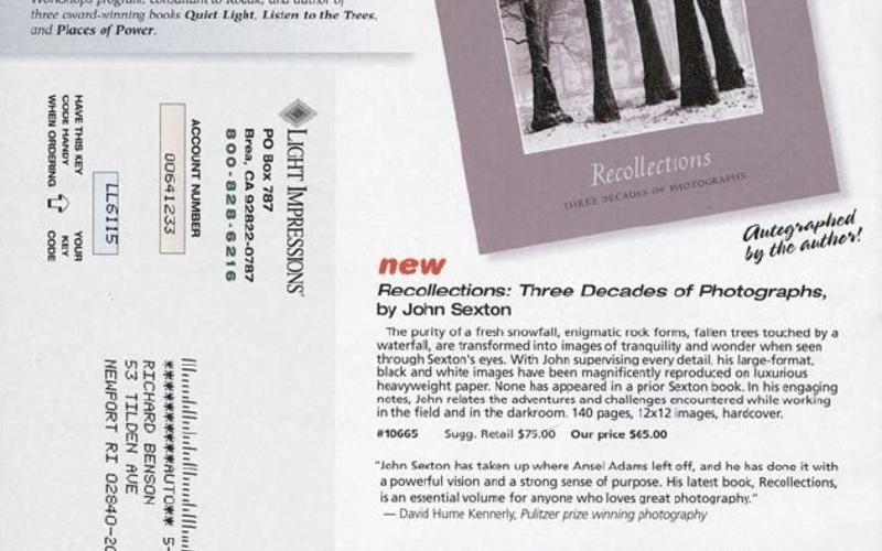 "Web photo offset print. Light Impressions Company. Light Impressions mail-order catalog, back cover. 2006. 10 1/8 x 8 1/8"" (25.7 x 19.7 cm). The Museum of Modern Art, New York. Gift of Richard Benson. © Light Impressions."