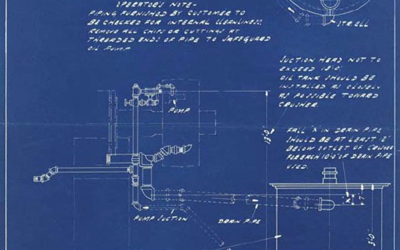 "Blueprint. Nordberg Manufacturing Company, Milwaukee, Wisconsin. 3' Symons Cone Crusher: Piping & Tank Layout. 1939. 17 5/8 x 12"" (44.8 x 30.5 cm). The Museum of Modern Art, New York. Gift of Richard Benson. Nordberg's in-house identification stamp has been applied to this print at the upper left through a series of punched holes giving the company name."