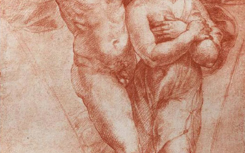 "Carbon print. Raphael Sanzio. Cupid and Psyche. c. 1510. (Printed by Adolphe Braun, c. 1880). 13 1/2 x 9"" (34.3 x 22.9 cm). The Museum of Modern Art, New York. Gift of Richard Benson."