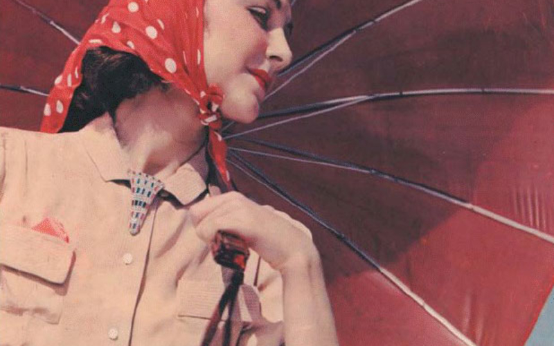 "Carbro print. William Rittase. Model with Umbrella. c. 1935. 13 1/2 x 10 3/8"" (34.3 x 26.4 cm). The Museum of Modern Art, New York. Gift of Richard Benson. Carbro is a more flexible descendent of color carbon printing; it uses enlarged separations. Both carbro and color carbon require careful registration of the three color layers."