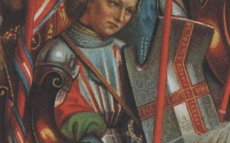 """Detail of Chromolithograph. Hubert and Jan Van Eyck. Panel from The Ghent Altarpiece. c. 1432 (Printed by Storch & Kramer, 1877). 15 3/8 x 5 1/8"""" (39 x 13 cm). The Museum of Modern Art, New York. Gift of Richard Benson."""