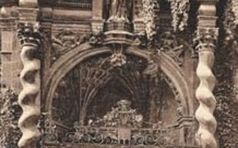 """Collotype. Photographer unknown. Oxford, St. Mary the Virgin's Church, Porch. 1900. 5 7/16 x 7 7/16"""" (13.8 x 18.9 cm). The Museum of Modern Art, New York. Gift of Richard Benson."""