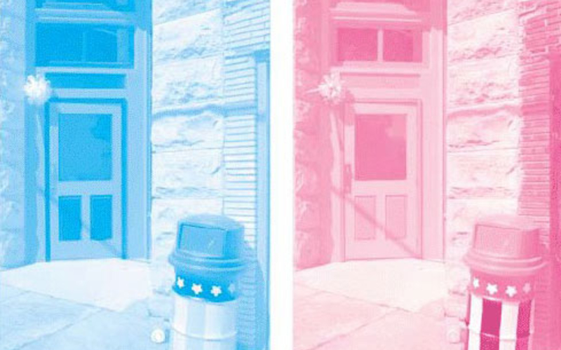 A sample set of color separations: starting left, cyan; magenta. These are single impressions of the actual separations used to make the full-color reproduction on the first page. © Richard Benson