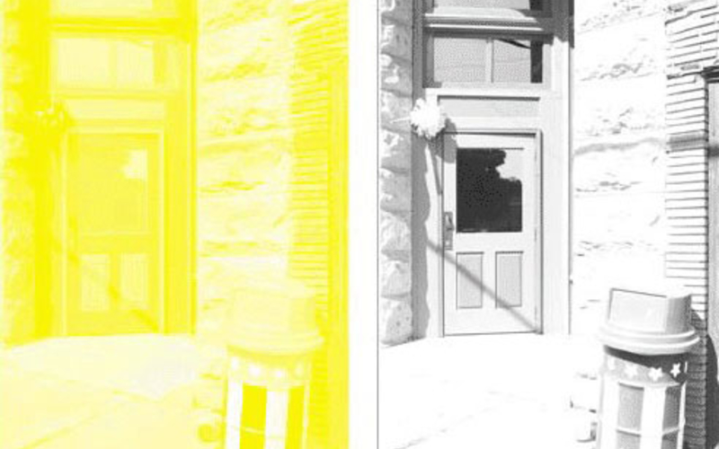 A sample set of color separations: starting left, yellow; and black. These are single impressions of the actual separations used to make the full-color reproduction on the first page. © Richard Benson