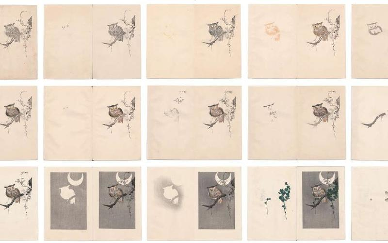 """Color woodblock progressives. Artist unknown. Publisher's process book. c. 1930. Approximately 5 1/2 x 7 1/8"""" (14 x 18.1 cm) each. The Museum of Modern Art, New York. Gift of Richard Benson © S. Watanabe Color Print Co. and Kawase Fumiko."""