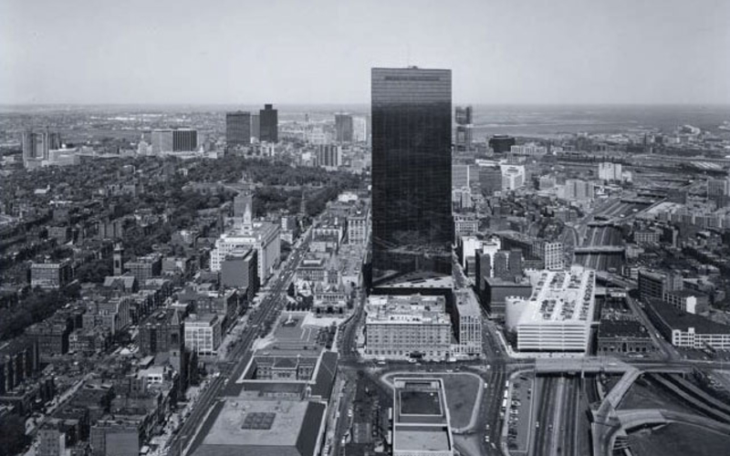 """Gelatin silver print. Nicholas Nixon. View of the New John Hancock Building. 1975. 7 5/8 x 9 5/8"""" (19.4 x 24.4 cm). The Museum of Modern Art, New York. Gift of Richard Benson © Nicholas Nixon. A properly made contact print is virtually as sharp and tonally rich as the negative from which it is derived."""