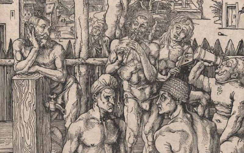 "Woodcut. Albrecht Dürer. The Men's Bath. c. 1496. 15 7/16 x 11 3/16"" (39.2 x 28.4 cm). Collection of John Benson. Printers have had to devise methods of creating tonal variation using only black ink. One solution is to use finely spaced lines that, though black, give the eye the illusion of tone when viewed from a distance."