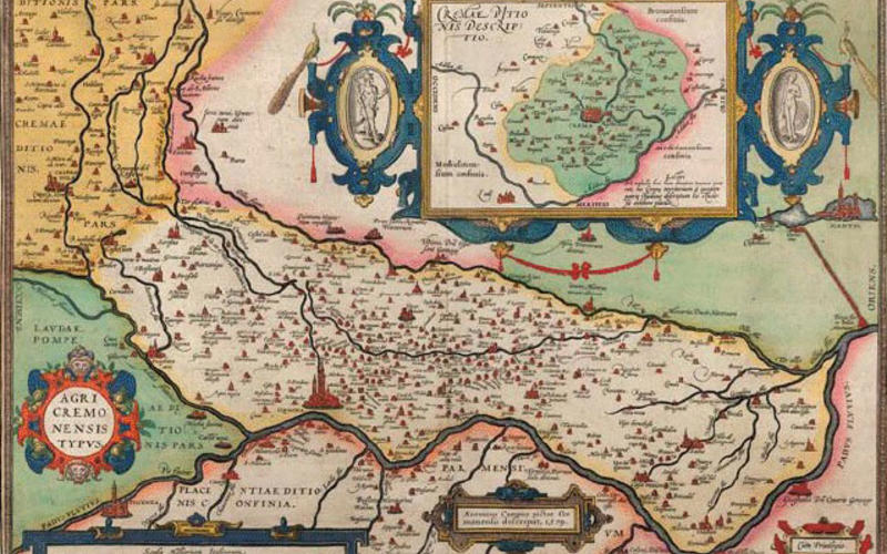 """Hand-colored copper engraving. Antonius Campus. Map of the Fields of Cremona. 1579. 13 3/4 x 19 13/16"""" (35 x 50.3 cm). The Museum of Modern Art, New York. Gift of Richard Benson."""