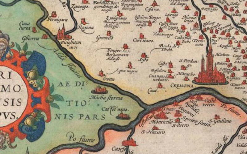 """Detail of Hand-colored copper engraving. Antonius Campus. Map of the Fields of Cremona. 1579. 13 3/4 x 19 13/16"""" (35 x 50.3 cm). The Museum of Modern Art, New York. Gift of Richard Benson."""