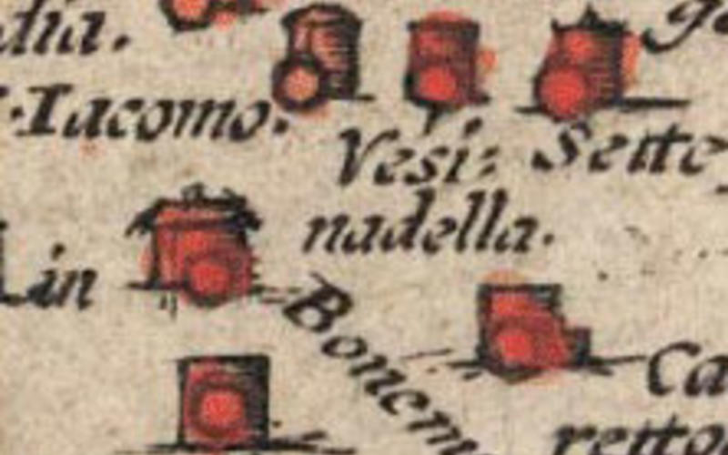 """Detail of Hand-colored copper engraving. Antonius Campus. Map of the Fields of Cremona. 1579. 13 3/4 x 19 13/16"""" (35 x 50.3 cm). The Museum of Modern Art, New York. Gift of Richard Benson. The small red spots applied to the individual towns have been rapidly painted by a dab with a brush, for which no stencil was necessary."""