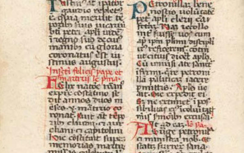 "Hand lettering. Artist unknown. Page from a missal. c. 1350. 5 3/4 x 4 1/8"" (14.6 x 10.5 cm). The Museum of Modern Art, New York. Gift of Richard Benson. A small manuscript page written in a southern Gothic book hand."