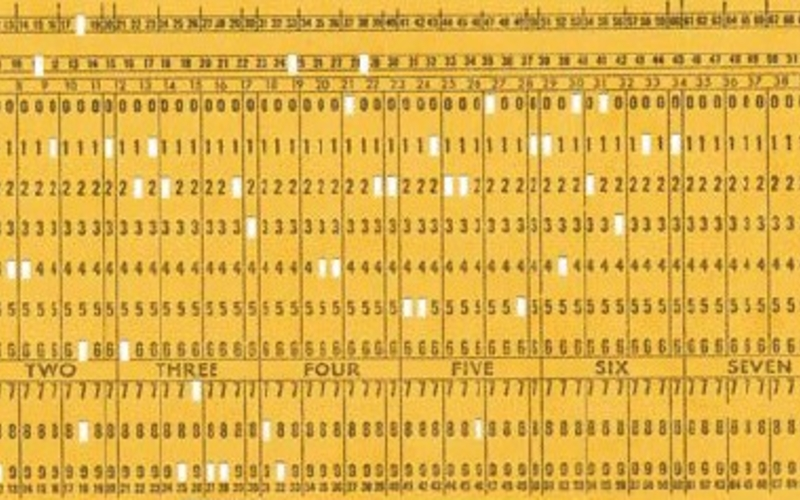 "Punched paper with photo offset text. IBM Corporation. IBM punch card. c. 1956. Each: 3 1/4 x 7 3/8"" (8.3 x 18.7 cm). The Museum of Modern Art, New York. Gift of Richard Benson."
