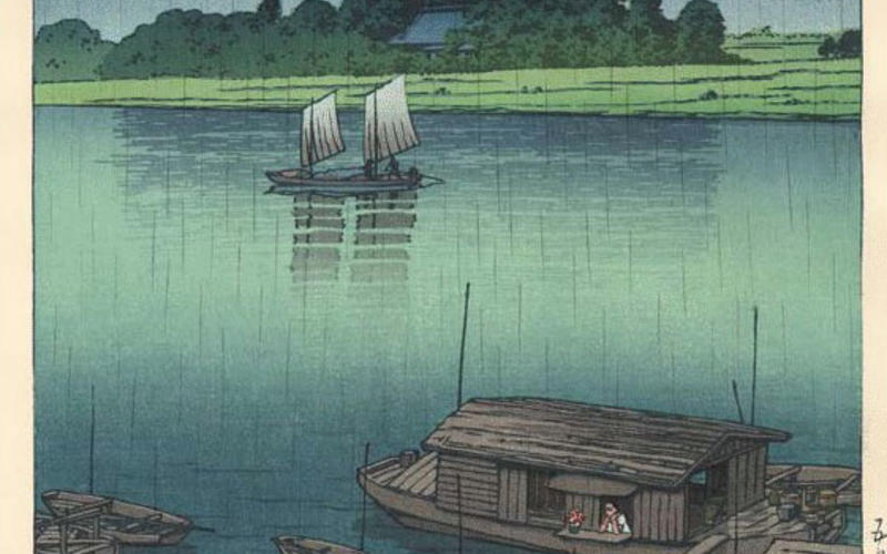 """Japanese woodblock printing. Kawase Hasui. Early Summer Rain. c. 1940. 14 3/4 x 10 1/8"""" (37.5 x 25.7 cm). The Museum of Modern Art, New York. Gift of Richard Benson © S. Watanabe Color Print Co. and Kawase Fumiko.  Japan has a long history of producing extraordinary color prints using multiple woodblocks that are inked with subtle gradations of color. The best of them have tonal and color variations whose complexity and beauty rival the watercolor paintings upon which they often were based."""