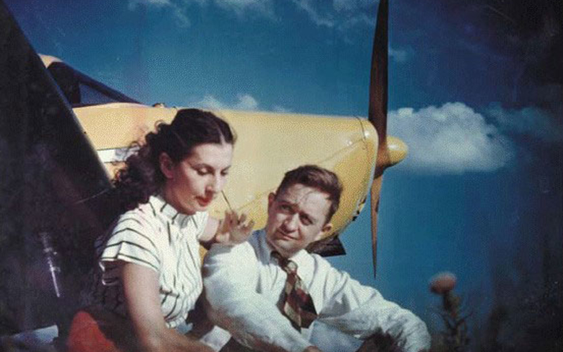 "Kodachrome print. Photographer unknown. Mariam and James McGlone with their Piper Cub. 1946. 5 1/2 x 7 7/8"" (14 x 20 cm). The Museum of Modern Art, New York. Gift of Richard Benson. This print was made directly from a Kodachrome transparency."