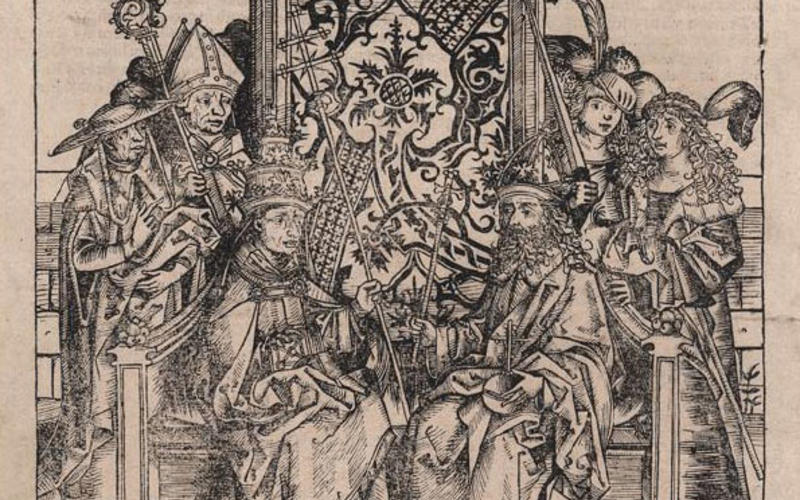"Letterpress from woodcut and metal type. Anton Koberger and the workshop of Michael Wohlgemut. King Friderich and the Roman Pope, page from the Nuremberg Chronicle by Hartmann Schedel. 1493. 13 3/8 x 9 15/16"" (34 x 25.3 cm). The Museum of Modern Art, New York. Gift of Richard Benson. Because the side-grain block used for woodcuts was not stable enough to lock up well on the press with metal type, words and pictures were not usually printed together before the advent of wood engraving in the nineteenth centu"