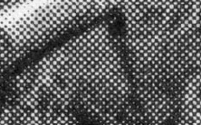 Detail of Halftone print. Henri Cartier-Bresson. Sunday on the Banks of the Marne, France. 1936–38 (printed 1947). © Henri Cartier-Bresson/Magnum, courtesy Fondation Henri Cartier-Bresson. An eight-times enlargement showing the halftone dot pattern. Imperfect inking and squeezed transfer of ink to paper have produced considerable distortion of the halftone dot.