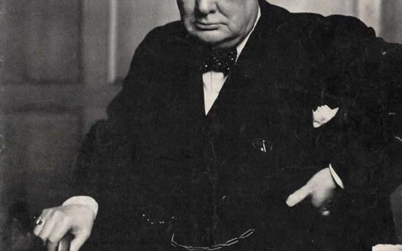 "Halftone print. Yosuf Karsh. Winston Churchill. 1941 (Printed 1945). 10 1/2 x 14"" (26.7 x 35.6 cm). The Museum of Modern Art, New York. Gift of Richard Benson © Time, Inc. The cover of Life magazine, May 21, 1945."