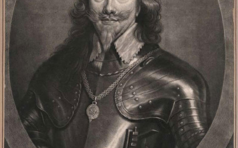 "Mezzotint. After Sir Anthony Van Dyck. King Charles I. c. 1635 (Printed by Isaac Beckett, c. 1685). 13 1/8 x 9 13/16"" (33.3 x 25 cm).  Collection of John Benson. Beckett's title, beautifully engraved on the mezzotint plate, is ""Charles, by the grace of God King of England, Scotland, France and Ireland."""