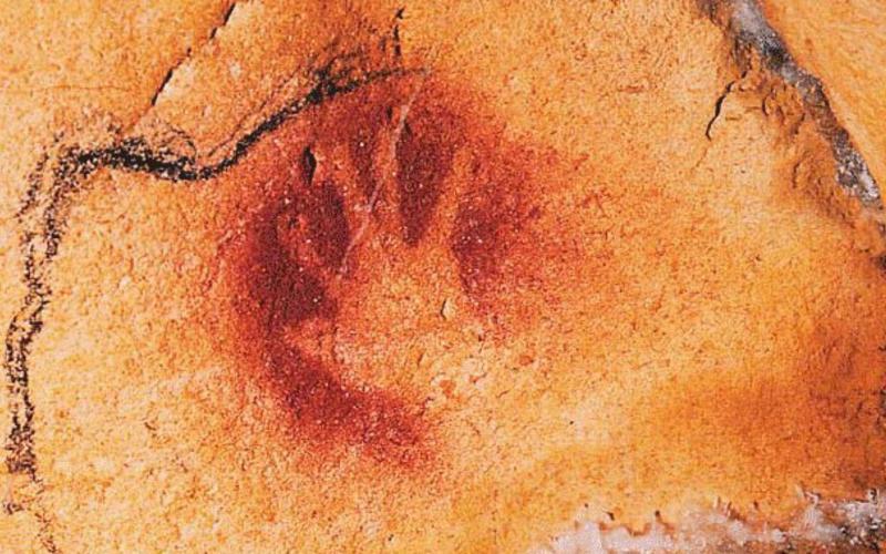 Pigment prints. Artist unknown. Hands from the walls of the Chauvet cave, Ardèche, France. c. 30,000 B.C. © Jean-Marie Chauvet, Eliette Brunel Deschamps, and Christian Hillaire.