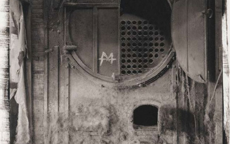 "Platinum print. Richard Benson. Fall River Boiler. 1978. 16 7/16 x 13 1/16"" (41.7 x 33.1 cm). The Museum of Modern Art, New York. Gift of Richard Benson © Richard Benson. This print is untrimmed, showing the brushmarks made when the sensitive iron/platinum coating was applied to the sheet of Crane's stationery that was the basis for the print."