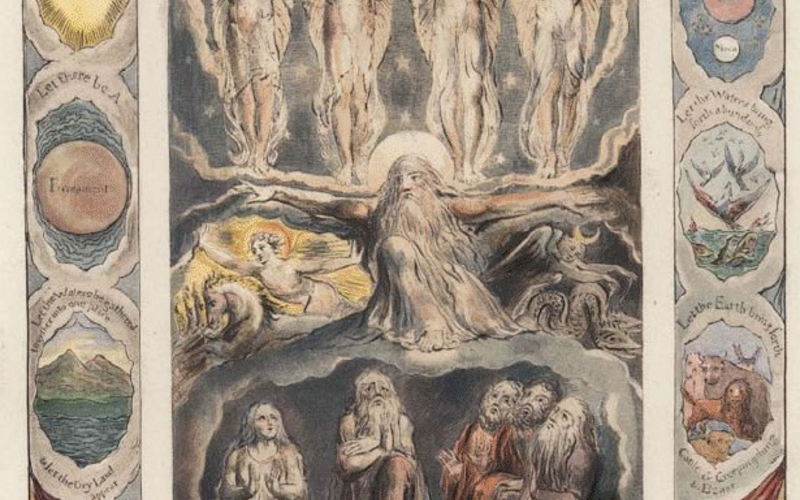 """Pochoir. William Blake. When the Morning Stars Sang Together from the Book of Job. 1825. 8 x 6 3/8"""" (20.3 x 16.2 cm). Printed by Trianon Press. 1976. The Museum of Modern Art, New York. Gift of Richard Benson. This print is a hand-colored collotype proof of a Blake engraving that was colored by someone other than Blake himself."""