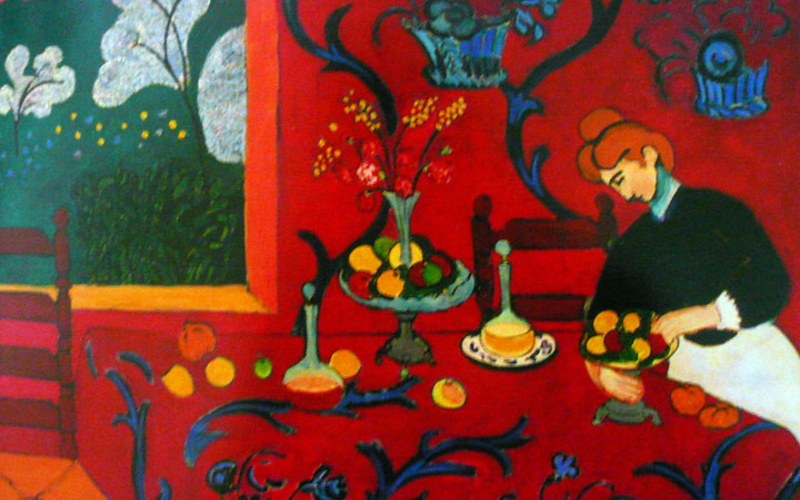 """Oil on canvas. Henri Matisse. Red Room (Harmony in Red). 1908. 70 7/8 x 86 5/8"""" (180.5 x 221 cm). State Hermitage Museum, St. Petersburg ©Succession H. Matisse, Paris / Artists Rights Society (ARS), New York."""