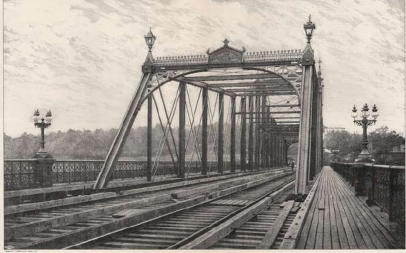 "Random screen halftone. Sprague & Co. Haarlem River Bridge, Eighth Avenue, New York; West Side and Yonkers Railway. 1882. 11 1/4 x 17"" (28.6 x 43.2 cm). The Museum of Modern Art, New York. Gift of Richard Benson."