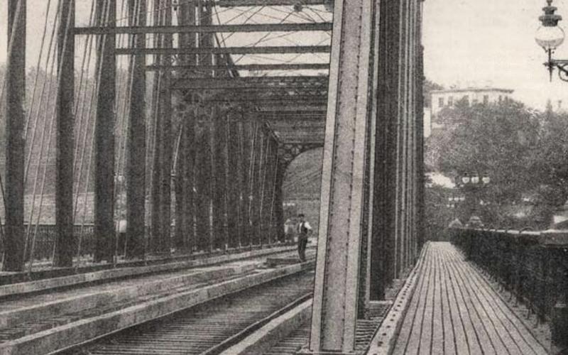"Detail of Random screen halftone. Sprague & Co. Haarlem River Bridge, Eighth Avenue, New York; West Side and Yonkers Railway. 1882. 11 1/4 x 17"" (28.6 x 43.2 cm). The Museum of Modern Art, New York. Gift of Richard Benson."