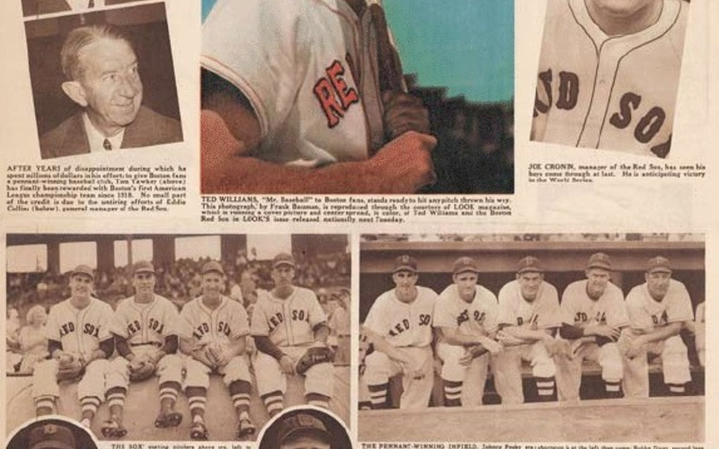 """Rotogravure. Leslie R. Jones. American League Champions from Boston Sunday Herald, September 29, 1946. 1946. 22 1/2 x 15 1/4"""" (57.2 x 38.7 cm). Courtesy Boston Herald. The designer of this rotogravure sheet is unknown."""