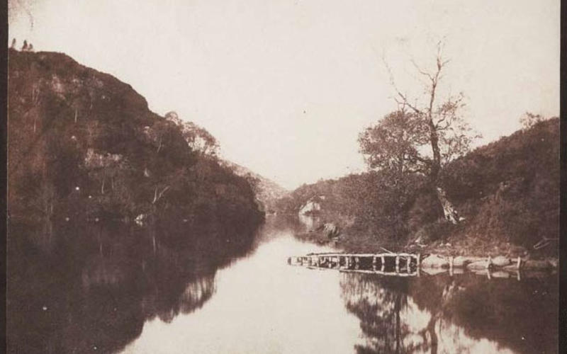 """Salted-paper print from a calotype. William Henry Fox Talbot. Loch Katrine. 1844. 6 7/8 x 8 5/16"""" (17.4 x 21.1 cm). The Museum of Modern Art, New York. The Family of Man Fund."""