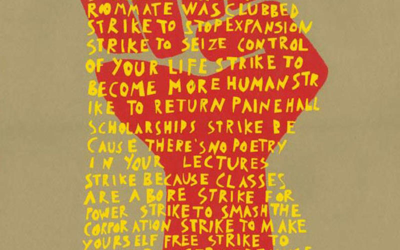 "Silk screen print. Strike Poster Workshop, Graduate School of Design, Harvard University. Strike for the Eight Demands. 1969. 20 7/8 x 14 15/16"" (53 x 38 cm). The Museum of Modern Art, New York. Gift of Richard Benson. Silkscreen prints are made with stencils held on an open-weave sheet of stretched cloth. Many modern silkscreen prints use photographic stencils, made by applying light-sensitive emulsion to the screen. Silkscreen is the medium of most of today's decorated T-shirts."