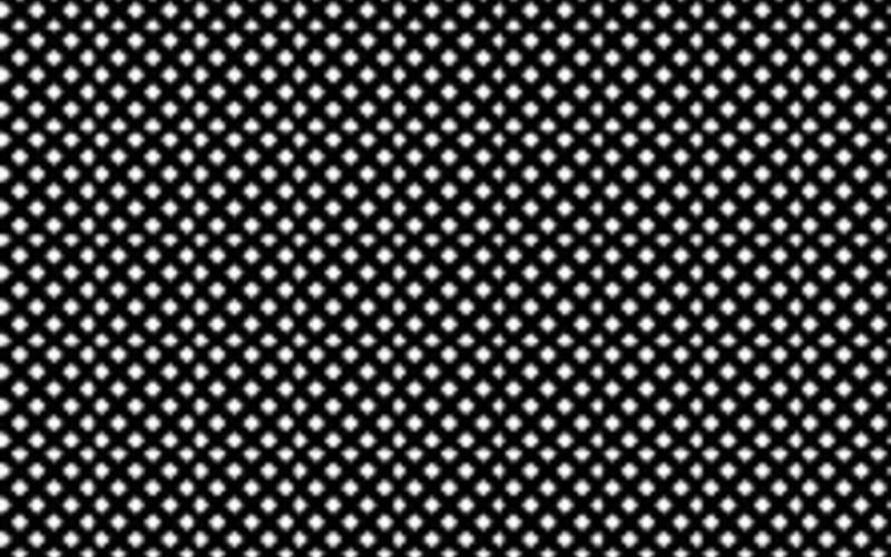 A representation of a section of a glass halftone screen, similar to the one used in 1947 to make the reproductions for the book Henri Cartier-Bresson (New York: The Museum of Modern Art). The screen used for that book had approximately 100 clear dots per linear inch, or 10,000 per square inch.