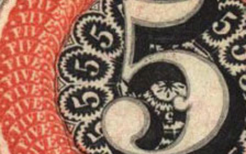 """Detail of Two-color steel engraving. Danforth, Underwood & Company. Uncut banknote proof sheet. c. 1839. 12 1/4 x 7 3/4"""" (31.1 x 19.7 cm). The Museum of Modern Art, New York. Gift of Richard Benson. Mechanical methods capable of decorative details such as these had appeared by the mid-nineteenth century. The filigreed orange circle around the fives was engraved or etched by a pantograph working from a larger image."""