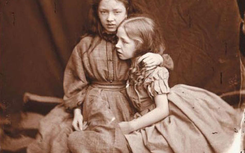 """Wet-plate. Lewis Carroll. The Terry Sisters. 1875. 6 x 5"""" (15.2 x 12.7 cm). Printed by Richard Benson, 1980. The Museum of Modern Art, New York. Gift of Richard Benson."""